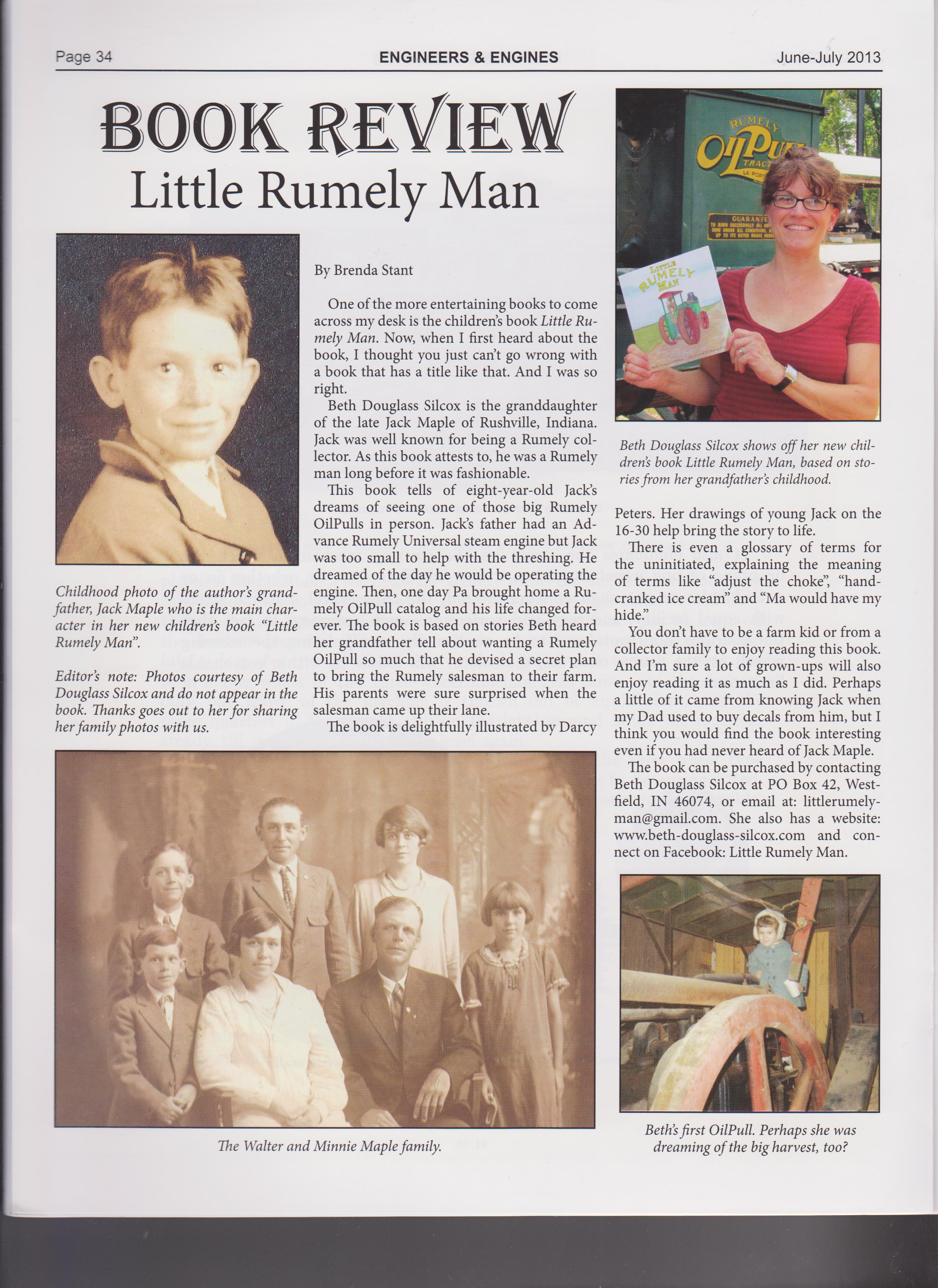 Engineers and Engines is a antique farm machinery magazine. They published this review of Little Rumely Man in the June/July issue.